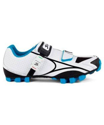 Pack Zapatillas Spiuk Risko Blancas y Azules + Pedales Shimano Deore XT SPD M8020